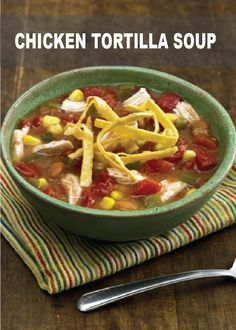 This Creamy Chicken Tortilla Soup recipe is a quick and delicious soup full of spicy tomatoes and refried beans! It'll warm you up on a cold weekend night! Italian Chicken Casserole, Creamy Chicken Tortilla Soup, Chicken Parmesan Casserole, Chicken Soup Recipes, Best Chili Recipe, Chili Recipes, Healthy Crockpot Recipes, Crockpot Meals, Hot Soup