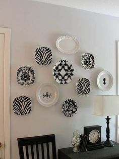 wall display done with old plates and vinyl & DIY Hanging Plate Wall Designs with Fine China Fancy Plates ...