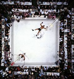 Aerial view of Muhammad Ali standing victorious after a third round knockout of Cleveland Williams their 1966 during fight at The Astrodome.