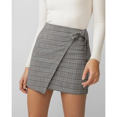 Express Plaid Wrap Tie Mini Skirt ($50) ❤ liked on Polyvore featuring skirts, mini skirts, plaid, plaid skirt, short skirts, tartan miniskirts and short wrap skirt
