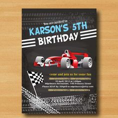 Race Car Birthday Invitation for any age 1st 2nd 3rd by miprincess