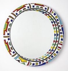 Ndebele Wall Mirror - Sithabe African Craft--touches of color Beaded Mirror, South African Design, African Crafts, African Accessories, Africa Art, Rustic Crafts, Circle Design, Wire Art, Wall Mirror