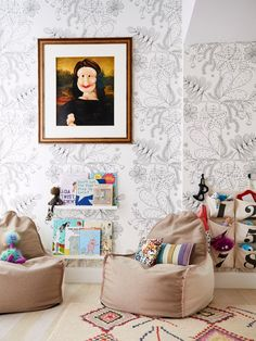 Jenny Kirschner Designer Unique Brooklyn Home Tour chic playroom art and decor ideas, girl room decor with wallpaper Playroom Art, Playroom Design, Kids Room Design, Kids Bedroom, Bedroom Decor, Kids Rooms, Bedroom Lighting, Bedroom Wall, Bedroom Ideas