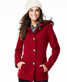 Bundle up in Jason Kole's cozy wool-blend coat. Layer over your favorite fall outfits for the perfect look! - Wool/polyester/other fibers; lining: polyester - Dry clean - Imported - Attached hood - Si