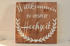 Wegweiser, Holzschild für die Hochzeit // Wooden wedding sign by glitterwords via DaWanda.com