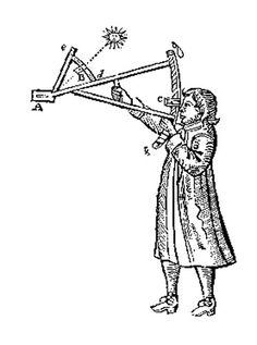 The backstaff is a navigational instrument that was used to measure the altitude of a celestial body, in particular the sun or moon. When observing the sun, users kept the sun to their back (hence the name) and observed the shadow cast by the upper vane on a horizon vane.