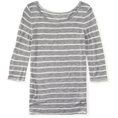 Aeropostale 3/4 Sleeve Sheer Striped Boat-Neck Tee ($8.99) ❤ liked on Polyvore featuring tops, t-shirts, sheer t shirt, striped boatneck tee, striped t shirt, three quarter sleeve t shirts and see through tops