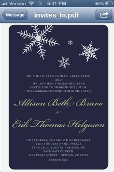 Our winter wedding invitations