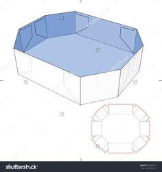 Octagon Tray With Diecut Layout Stock Vector Illustration 188795123 : Shutterstock