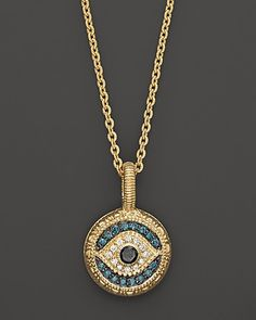 "Judith Ripka 18K Gold Evil Eye Pendant Necklace with White, Blue, and Black Diamonds .298 ct. t.w., 17"" - Necklaces - Shop by Style - Fine Jewelry - Bloomingdale's"