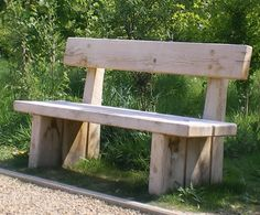 natural log benches | Natural green oak heavy duty back bench - Chris Nangle Furniture - on ...