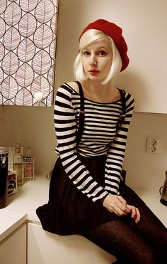 -cute red beret, black and white striped long sleeve shirt, black suspender skirt, black tights fall/winter/spring outfit-