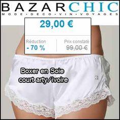 #missbonreduction; Réductoin de 70 % sur le Boxer en Soie court arty/ivoire chez Bazarchic.http://www.miss-bon-reduction.fr//details-bon-reduction-Bazarchic-i852507-c1841208.html