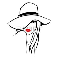 woman hat: This image is a vector illustration of a long hair girl wearing a big floppy hat.  The drawing is stylized and minimalist. The drawing lines are in black while the lips of the lady is red on a white background.