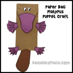 Paper Bag Platypus Puppet Craft from www.daniellesplace.com Book for preschool and elementary children with suggested platypus crafts to go along with the book on www.daniellesplace.com where learning is fun!