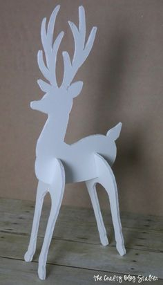 Make a Reindeer decoration to add to your holiday decor. This standing deer is super cute and the perfect DIY Christmas Craft. Diy Christmas Reindeer, Christmas Wood, Christmas Projects, Christmas Ornaments, White Reindeer, Reindeer Noses, Wooden Reindeer, Whoville Christmas, Reindeer Cookies