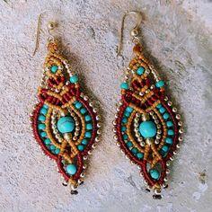 macrame earrings gypsy earrings native american earrings