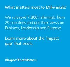 What matters most to Millennials? #impactthatmatters.com