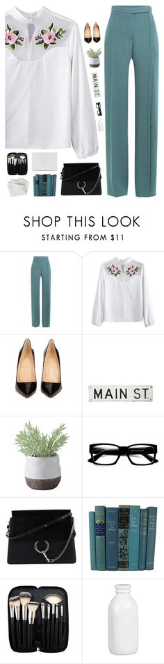 """""""At the office"""" by genesis129 ❤ liked on Polyvore featuring Marco de Vincenzo, Christian Louboutin, FOSSIL, Torre & Tagus, ZeroUV, Chloé, Morphe, Crate and Barrel and vintage"""