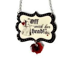 Red Queen Of Hearts Necklace Alice In Wonderland Jewelry Halloween Costume Black White Vintage Illustration. $26.00, via Etsy.