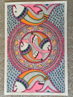 Madhubani Paintings Peacock, Kalamkari Painting, Madhubani Art, Indian Art Paintings, Gond Painting, Mural Painting, Mural Art, Fabric Painting, Mandala Drawing