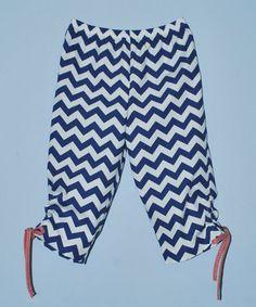 Look at this #zulilyfind! Blue & White Chevron Capri Pants - Toddler & Girls #zulilyfinds