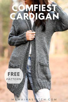 Ladies Cardigan Knitting Patterns, Knit Cardigan Pattern, Knitting Patterns Free, Free Knitting, Knitting Ideas, Knitting Projects, Free Crochet Sweater Patterns, Knit Crochet, Crocheting Patterns