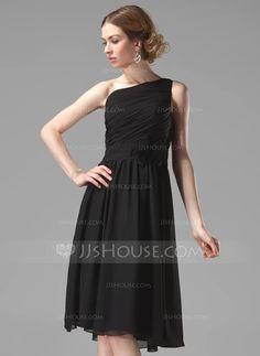 Bridesmaid Dresses - $99.99 - A-Line/Princess One-Shoulder Knee-Length Chiffon Bridesmaid Dress With Ruffle Flower(s) (007004118) http://jjshouse.com/A-Line-Princess-One-Shoulder-Knee-Length-Chiffon-Bridesmaid-Dress-With-Ruffle-Flower-S-007004118-g4118?snsref=pt&utm_content=pt