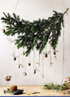 alternative christmas trees branch hanging from the wall; see all details on My Home and Yours blog