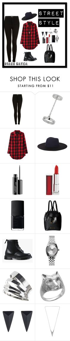 """Street style #170"" by dianerayna ❤ liked on Polyvore featuring Topshop, BCBGMAXAZRIA, MAC Cosmetics, Maybelline, NARS Cosmetics, Marc by Marc Jacobs, Dr. Martens, Nixon, Alexis Bittar and StreetStyle"