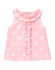 Sweet and lovely, Janie and Jack's baby girls tops and bodysuits come in a variety of colors and styles for your little one.Girl Petal Pink Dot Dot Top by Janie and Jack. Imported and Bloom TownLight and lovely, our dot print top is detailed with ple Girls Top Design, Girls Frock Design, Kids Frocks Design, Baby Frocks Designs, Baby Dress Design, Girls Dresses Sewing, Dresses Kids Girl, Kids Outfits, Baby Girl Frocks