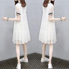 2017 여름 새로운 여성 스커트 느슨한 V 넥 캐주얼 큰 야드 얇은 워드 쉬폰 드레스 여성 여름이었다 인형