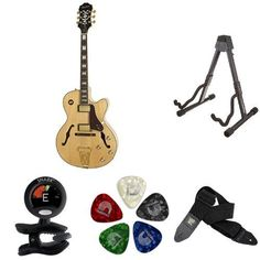"""Epiphone """"Joe Pass"""" EMPEROR-II PRO Hollow Body Electric Guitar with Coil Tapping Accessory Bundle, Natural. AmazonBasics Guitar Folding A-Frame Stand for Acoustic and Electric Guitars. Ernie Ball Black Polypro Guitar Strap. D'Addario Assorted Pearl Celluloid Guitar Picks, 10 Pack, Medium. Epiphone """"Joe Pass"""" EMPEROR-II PRO Hollow Body Electric Guitar with Coil Tapping, Natural. Snark SN-5 Tuner for Guitar, Bass and Violin."""