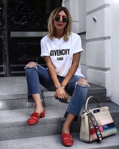 Givenchy t-shirt casual outfit Gucci Tshirt, Givenchy Shirt, Outfits For Teens, Casual Outfits, Fashion Outfits, Fashion Clothes, Red Flats Outfit, Shirt Outfit, T Shirt