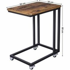 VASAGLE Industrial Side Table, Mobile Snack Table for Coffee Laptop Tablet, Slides Next to Sofa Couch, Wood Look Accent Furniture with Metal Frame Iron Furniture, Steel Furniture, Pallet Furniture, Industrial Furniture, Rustic Furniture, Vintage Furniture, Furniture Design, Accent Furniture, Industrial Design