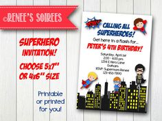 SUPERHERO Printable Birthday Invitation - plus optional Thank You card by ReneesSoirees Superhero Birthday Invitations, Printable Birthday Invitations, Superhero Party, All Superheroes, Super Mom, 4th Birthday, Invitation Design, Thank You Cards, Rsvp