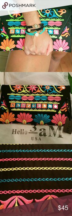 Black embroidered clutch Amazing clutch envelope shape, great quality, trendy and perfect for night out, you can carry a regular wallet,  cell, comes with dust bag.  MADE IN USA. Bags Clutches & Wristlets