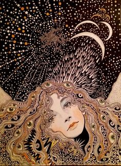 Mystical style illustration of a woman on a magical moon night. Art Inspo, Art Sketches, Art Drawings, Art Du Croquis, Art Et Illustration, Art Illustrations, Wow Art, Psychedelic Art, Art Design