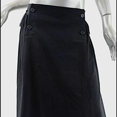 """Y's YOHJI YAMAMOTO Black Wool Full Skirt In Excellent Condition.Fiber label has been removed, feels of all wool.Almost always made in JapanBeautiful black wool skirt from Y'syohji Yamamoto isvery gently worn - nice and relaxed style with 'sailor's pant' button detail/access - side seam pockets and belt loops are finished with button accent - pin-tuck pleating detail below the waistline and rear hem slightly longer (2"""") - nice skirt.Size - 3Length- 29-1/4""""Waist- 36"""" all…"""
