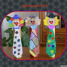 Clown cravate Clown Crafts, Circus Crafts, Carnival Crafts, Frog Crafts, Carnival Themes, Circus Theme, Diy And Crafts, Crafts For Kids, Arts And Crafts