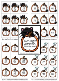 Quick and Easy to Prep Halloween - Two Digit Addition Without Regrouping Center Game #Halloween #TpT #FernSmithsClassroomIdeas $paid