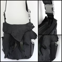 Leather Messenger Bag Crossbody Raw Edge Deconstruct by chrisst