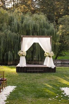 Romantic Napa Valley Fall Wedding This Meadowood wedding combined shades of blush, cream and gray and lots of roses to create an intimate, romantic atmosphere within the woods. Simple Wedding Arch, Fall Wedding Arches, Wedding Ceremony Ideas, Wedding Altars, Wedding Stage, Outside Wedding, Tree Wedding, Outdoor Ceremony, Simple Weddings