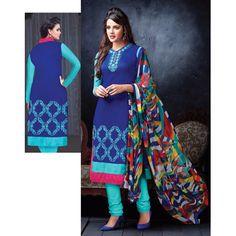 Buy Pakiza Design Chanderi Cotton Blue Semi-Stitched Suit by DHIRENDRAKUMAR B BUTANI, on Paytm, Price: Rs.699?utm_medium=pintrest
