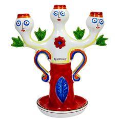 Ceramiche De Simone - Candelabras & Candle Holders - Sicilian Ceramic (Pottery) - CAN338 - Candelabro h35 cm