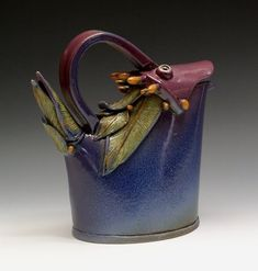 "Blue Bird Tea Pot 5"" x 8' x 3.5"" Ceramic hand built form , fired to cone 5 click on image to enlarge sold"