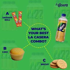 A La casera flier  Which combo do u prefer?  #lacaseraplc #lacasera #ilovethisdrink #gala Sausage Rolls, Biscuits, Muffin, Breakfast, Cake, Food, Crack Crackers, Morning Coffee, Cookies
