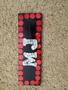 Sequins+Wooden Letters+Wood Plaque+Spray Paint= cute craft for only $8