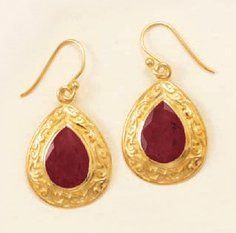 14K Gold Plated Sterling Silver French Wire Earrings, 10x15mm Rough Cut Rubies, 1 in Silver Messages. $75.99. Save 29% Off!