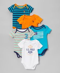 Love this Canoe Orange & Teal Five-Piece Bodysuit Set - Infant by U.S. Polo Assn. on #zulily! #zulilyfinds